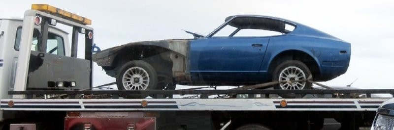 car on the towing truck